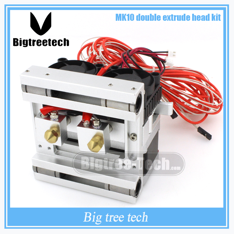 New version MK10 Double head Extruderkit Makerbot Dual print head kit For Reprap 3D Printer 1.75mm Filament 3D0102 Free shipping pla filament 3 00mm 1kg 2 2lbs white color for 3d printer plastic reprap wanhao makerbot free shipping