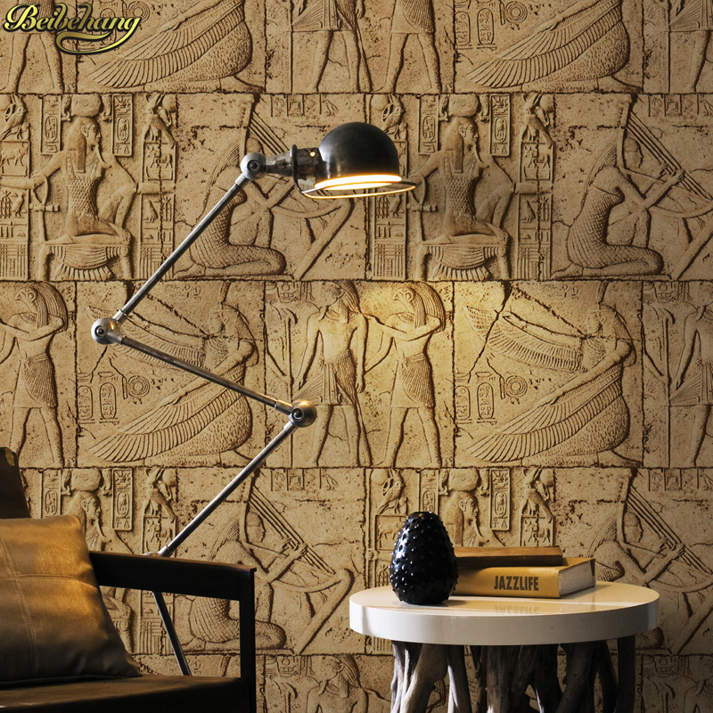 Beibehang High Quality Embossed Wallpaper 3D Egypt Ancient Wall Murals  Classical Sculpture Vintage PVC Vinyl Wallcovering
