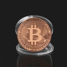 Christmas Gift for Kids New Plated Rose Gold Bitcoin Coin Collectible Art Collection Physical
