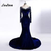 2017 Royalblue Evening Dress Mermaid Celebrity Dresses Long Prom Dresses With Crystal Vestido De Festa Velour