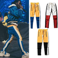 Mens Colorblocked Track Pants Striped Patchwork Pants For Men Streetwear Vintage Ankle Zipper Elastic Waist Loose Joggers Pants