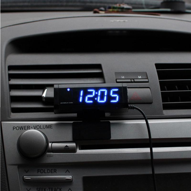 VODOOL Universal Car Interior Digital Thermometer Digital Clock Blue LED Light Digital Display Car Styling Accessories