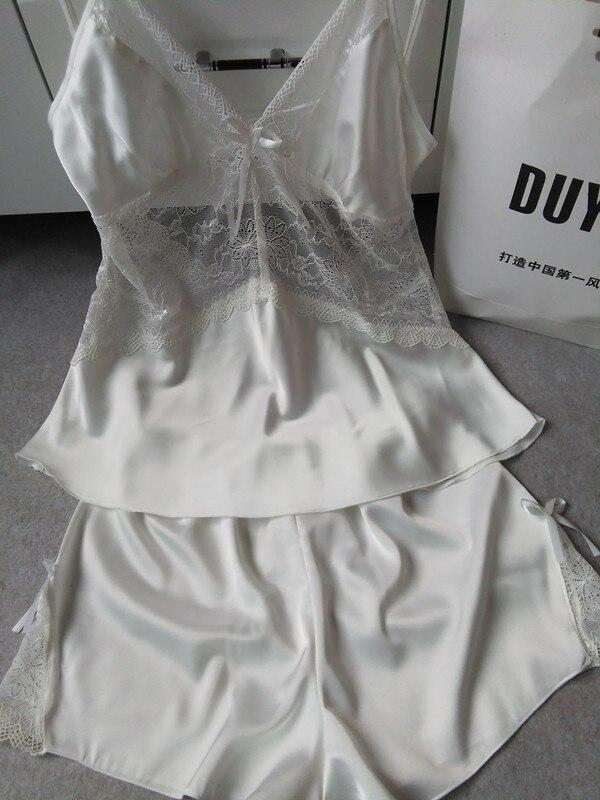 Sexy Women Summer Style Sleepwear Pyjamas Sets Hollow Out Deep V Lace Lingerie Nightwear Set Luxury Women Track Suits
