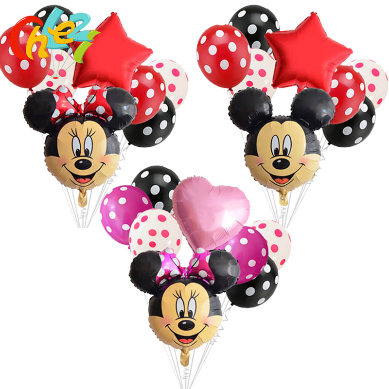 Large Minnie Mickey Mouse Head Happy Birthday Foil Balloons