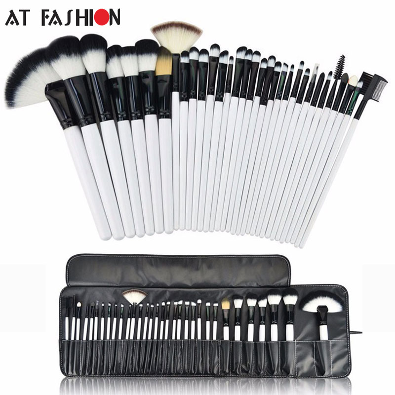 New Arrival Professional 32pcs Makeup Brush Set Tools Cosmetic Facial Make up Brush Kit White Brushes Set with Black Pouch Bag new arrival hot professional 29pcs animal hair cosmetic makeup brushes tool set with black leather cosmetic case2