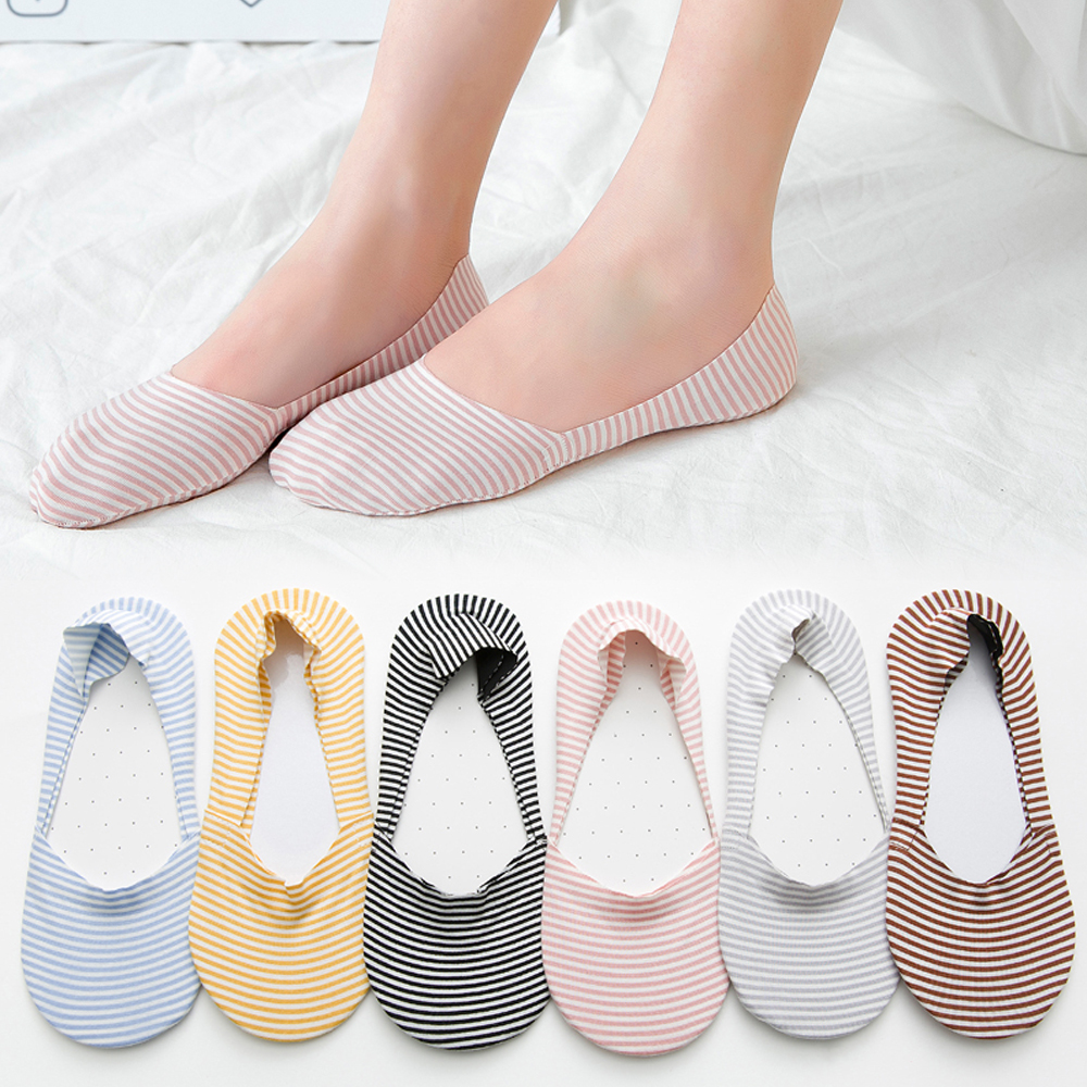 1 Paar Vrouwen Mode Snoep Kleur Onzichtbare Antislip Sokken Casual Katoenen Ademende Ankle Boot Sokken Low Cut Kousen Streep Sokken