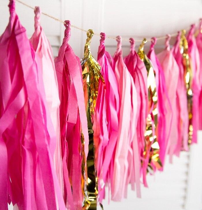(Fuchsia,Pink,Gold) Stunning Paper Tassel Garland Tissue Paper Fringe Bunting Wedding Nursery Baby Shower First Birthday Party