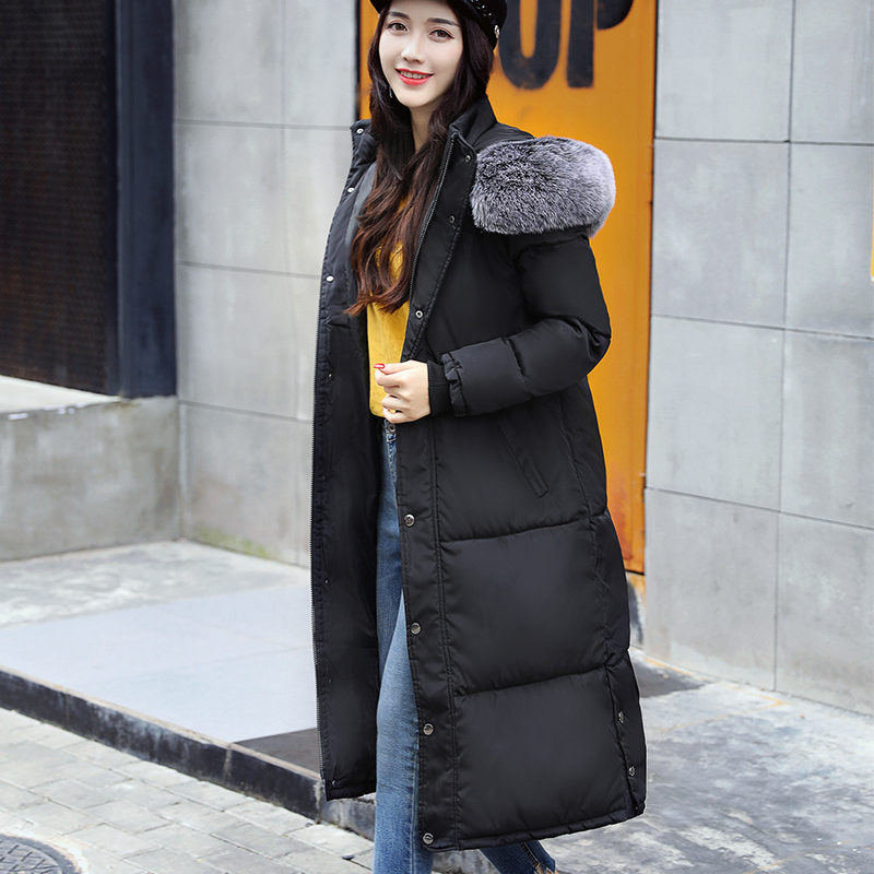 2017 New Winter Coat Big Hair Collar Pure Color Thick Warm Hooded Down Cotton Jacket High quality Large size Women Down Jacket 2016 new korean winter women coat elegant pure color thick warm hooded cotton jacket high quality large size women coat