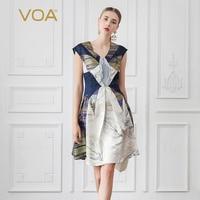 VOA шелк жаккард миди платья Для женщин Sexy V шеи Дамы Роскошные вечерние платье летом тонкий короткий рукав большой Размеры Kawaii a990