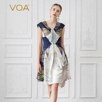 Voa шёлковый жаккард женские платья миди Sexy V шеи Дамы Роскошные вечерние платье летом тонкий короткий рукав большой Размеры Kawaii A990