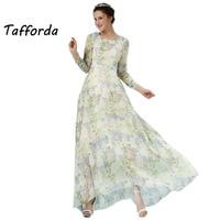 Hot Sell 2016 Big European And American Silk Dress Shirt Long Dress Irregular Full Length Dress