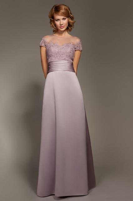 Elegante Appliqued Mãe Da Noiva Vestidos Sheer Mangas Curtas Plissados de Cetim 2016 Vestidos de Noite Formais Vestido de Convidados Do Casamento