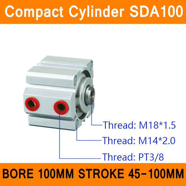 SDA100 Cylinder Compact SDA Series Bore 100mm Stroke 45-100mm Compact Air Cylinders Dual Action Air Pneumatic Cylinders ISO цена
