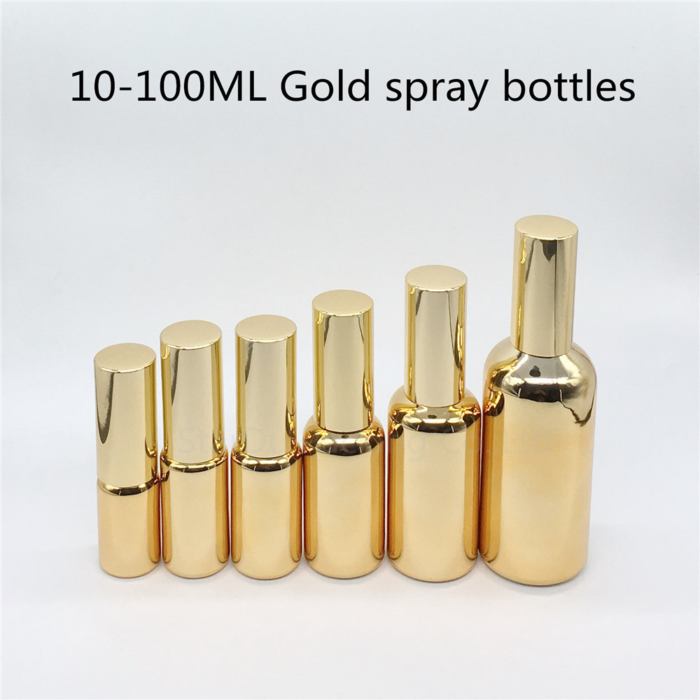10ml 15ml 20ml 30ml 50ml <font><b>100ml</b></font> gold glass <font><b>bottle</b></font> with aluminum sprayer, Essential Oil <font><b>Spray</b></font> perfume <font><b>bottle</b></font> 200pcs/<font><b>lot</b></font> image