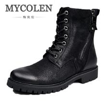MYCOLEN New Winter Warm Vintage Motorcycle Boots Men Fur Plush Dr  Shoes Genuine Leather High Top Footwear