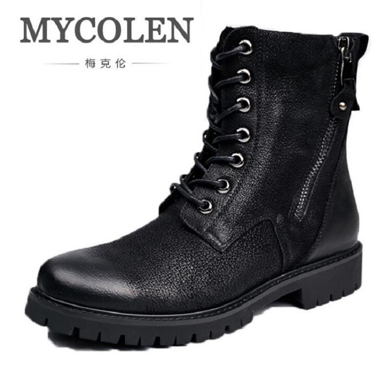 MYCOLEN New Winter Warm Vintage Motorcycle Boots Men Fur Plush Dr Martin Shoes Men Genui ...