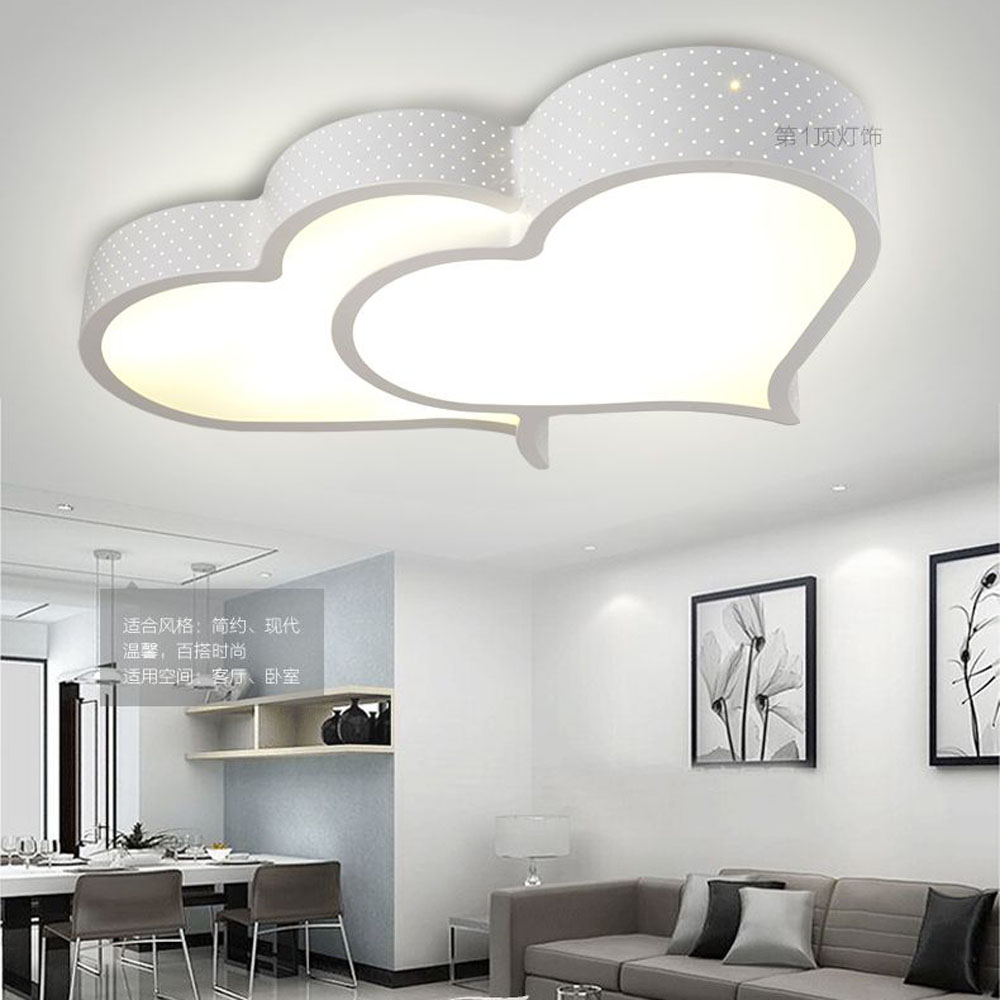 Modern led bedroom double hearts ceiling lamp study room white modern led bedroom double hearts ceiling lamp study room white acrylic panel ceiling light creative living room ceiling lighting in ceiling lights from aloadofball Choice Image