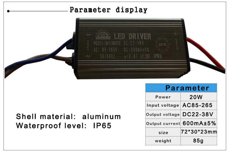 Led-treiber 10W 20W 30W 50W 70W Adapter Transformator AC85V-265V zu DC22-38V IP65 Netzteil 300mA 600mA 900mA 1500mA 2100mA