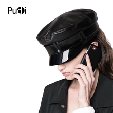 Hats Cap Military-Hat School-Caps Real-Leather Women Pudi HL809 Student