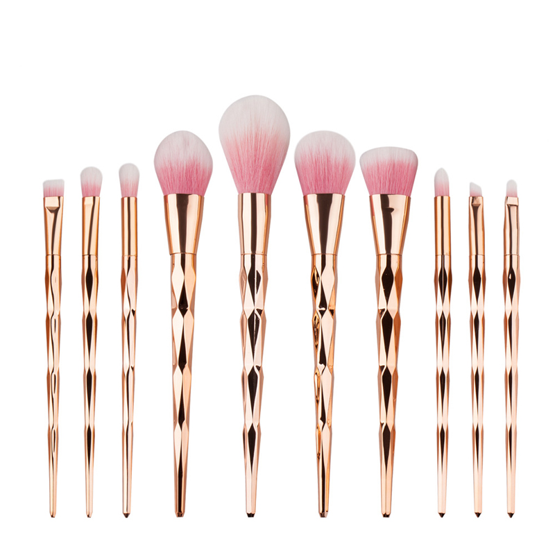 GUJHUI Makeup Brushes 10 pcs Pro Synthetic Fiber Rose Gold Colorfull Powder Eyeshadow Make up Brush kits New Arrival