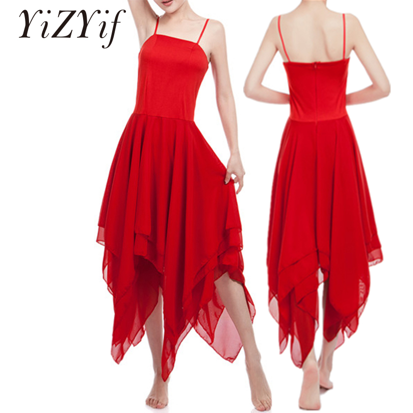 YiZYiF Women Ballet Dress Adult Spaghetti Strap Sleeveless Asymmetric Chiffon Solid Color Contemporary Dance Dress For Women