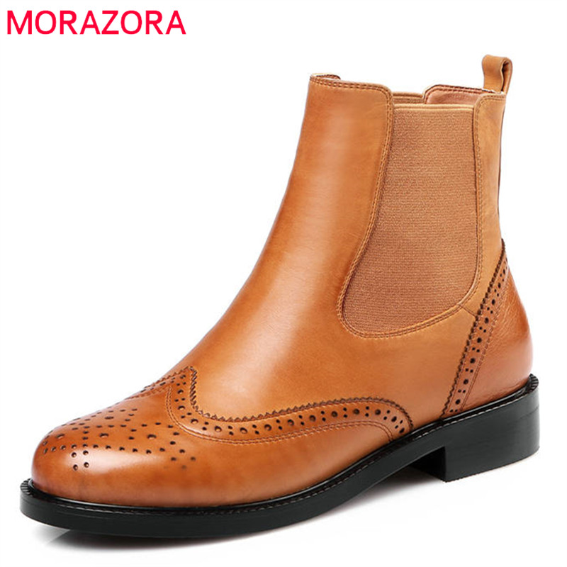 цена на MORAZORA 2018 new fashion shoes woman round toe genuine leather boots solid color ankle boots for women square heels shoes
