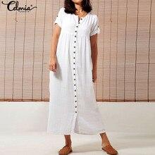 Plus Size Celmia Women Vintage Dress 2019 Summer Long Dresses Casual Loose Buttons Down Female Solid Party Maxi Vestidos Robe