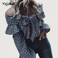 Yojoceli Autumn Winter Off Shoulder Ruffled Blouses Shirt Women Long Sleeve Plaid Blusas Blouses 2017 Street