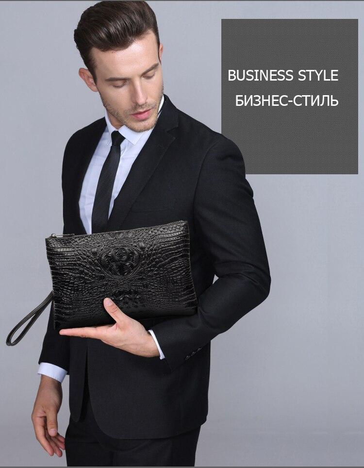DANJUE first layer cowhide mens clutch bag crocodile wallet D8107-1