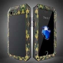 Роскошные шок dropproof противоударный Броня камуфляж Металл Алюминий + силиконовый чехол для iPhone 6 6 S 7 Plus 5 5S se Защитная крышка