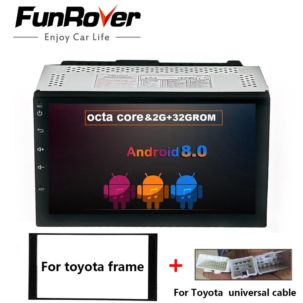 FUNROVER 8 ядер 2 Din Универсальный 7 ''android 8,0 Автомобильный gps DVD Мультимедиа Стерео для Toyota универсальный Hilux Vios старый Camry Prado fm