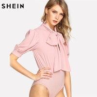SHEIN Short Sleeve Bodysuit Women 2018 Summer Ladies Work Wear Solid Pink Mid Waist Tie Neck