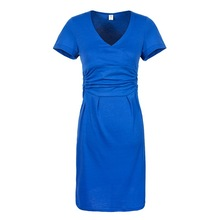 V-neck Short-sleeve Cotton Summer Elastic Waist Maternity Dress