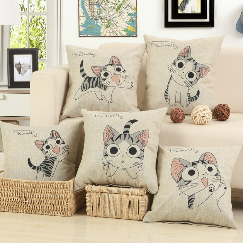 Wholesale 5 kinds of lovely cat decorative cushion covers for Decorative furniture covers