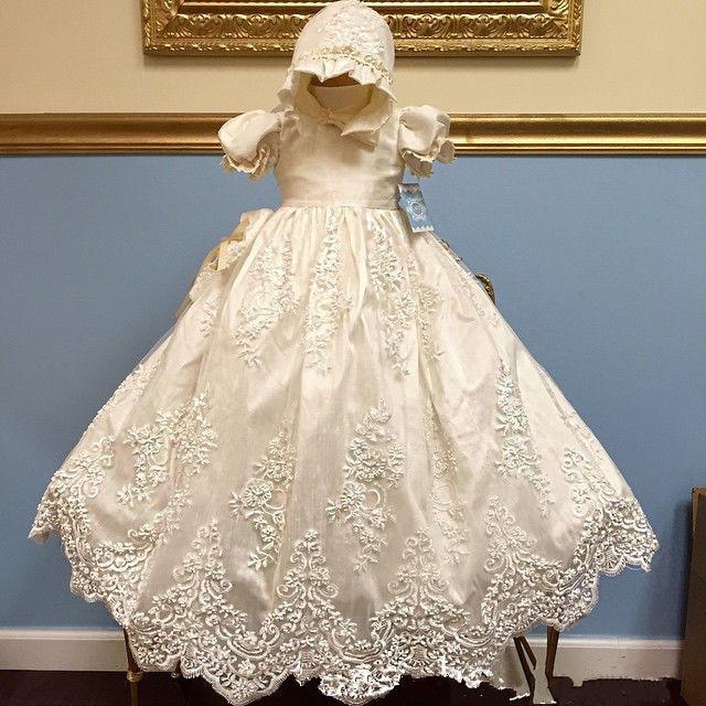 Newborn Baby Girls Christening Gowns White Lace Dress Baptismal ...