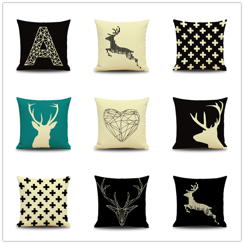 Simple European Style Cushion Cover Geometric Pattern Pillowcases Deer Throw Pillows Case for ...