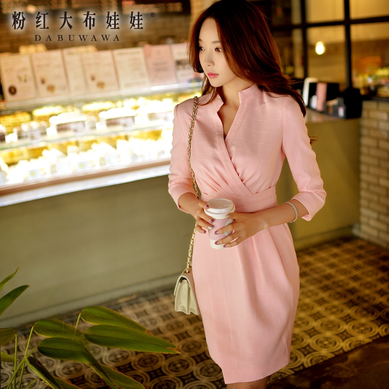 original Office Dress 2016 Spring and Autumn Slim Fashion Casual V Neck Pink Plaid Dresses Women Pink Doll