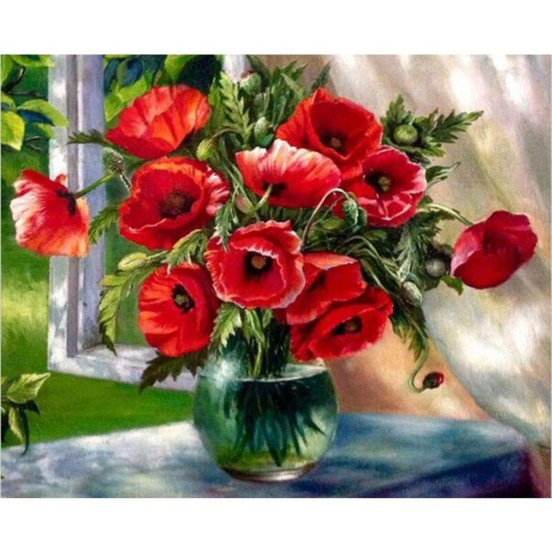 Pencere Tarafından Rad çiçek Diy Dijital Boyama Numaraları Modern