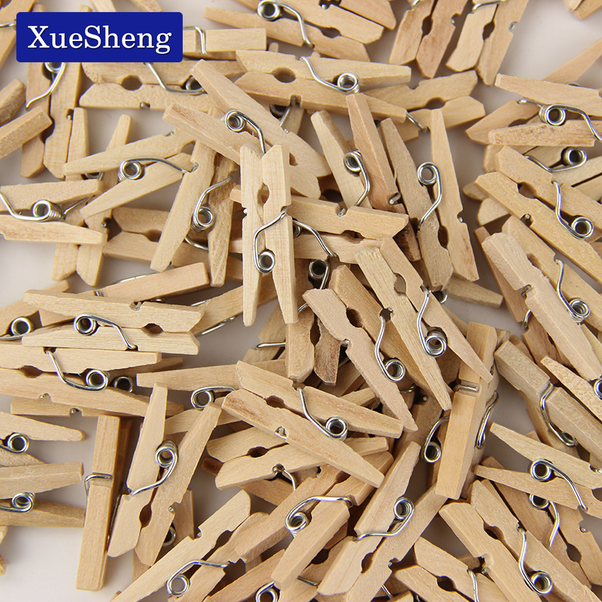 90 PCS/Set Mini Wooden Natural Clip Pack Of Small DIY Wedding Party Natural Clips Office Supplies