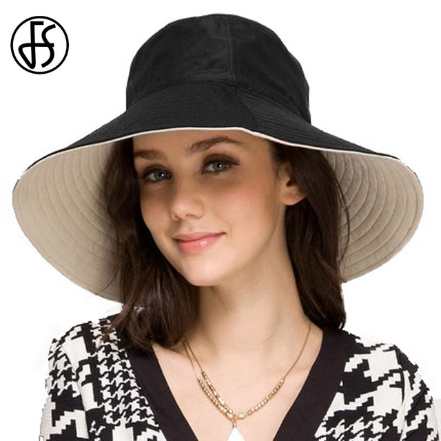 63be281f632 FS Foldable Hats For Women Female Summer Black Pink Wide Brim Beach  Reversible Sun Visor Hats