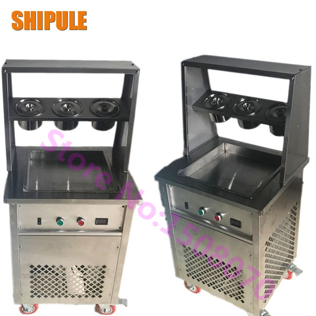 SHIPULE Free shipping Thailand ice roll machine single square pan rolled fried soft ice cream machine free shipping big pan 50cm round pan roll machine automatic fried ice cream rolling rolled machine frying soft ice cream make