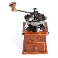 Stojak Miski Antyczne Ręcznie Coffee Bean Grinder Retro design Mini Instrukcja Kawy Szlifierka Młyn Drewniane Pieprz Nasion Handmade Prezent
