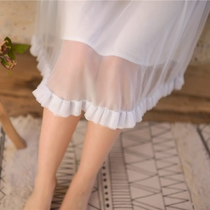 Image 5 - モーダル白レースノースリーブナイトガウン女性のレトロなヴィンテージ王女女性のゆるいパジャマセクシーなナイトドレス