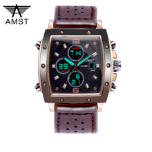 New Famous Luxury Brand Men Analog Digital Leather Sports Watches Men's Army Military Watch Man Quartz Clock Relogio Masculino