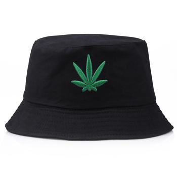 Haft z liśćmi kapelusz typu Bucket mężczyźni kobiety Panama Street Bob kapelusz letni kapelusz wędkarski Hip Hop Gorros wędkarski kapelusz rybaka tanie i dobre opinie furandown Poliester COTTON Dla dorosłych Unisex Mieszkanie Stałe Bucket H-078 Wiadro kapelusze Na co dzień Cheap bucket hat