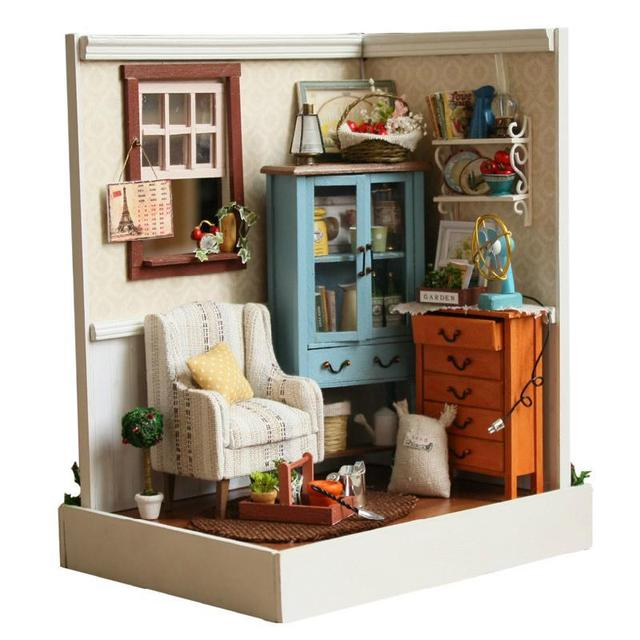 2016 Miniatura Home Decoration Crafts Diy Doll House Wooden Houses  Miniature Dollhouse Furniture Kit Room Led