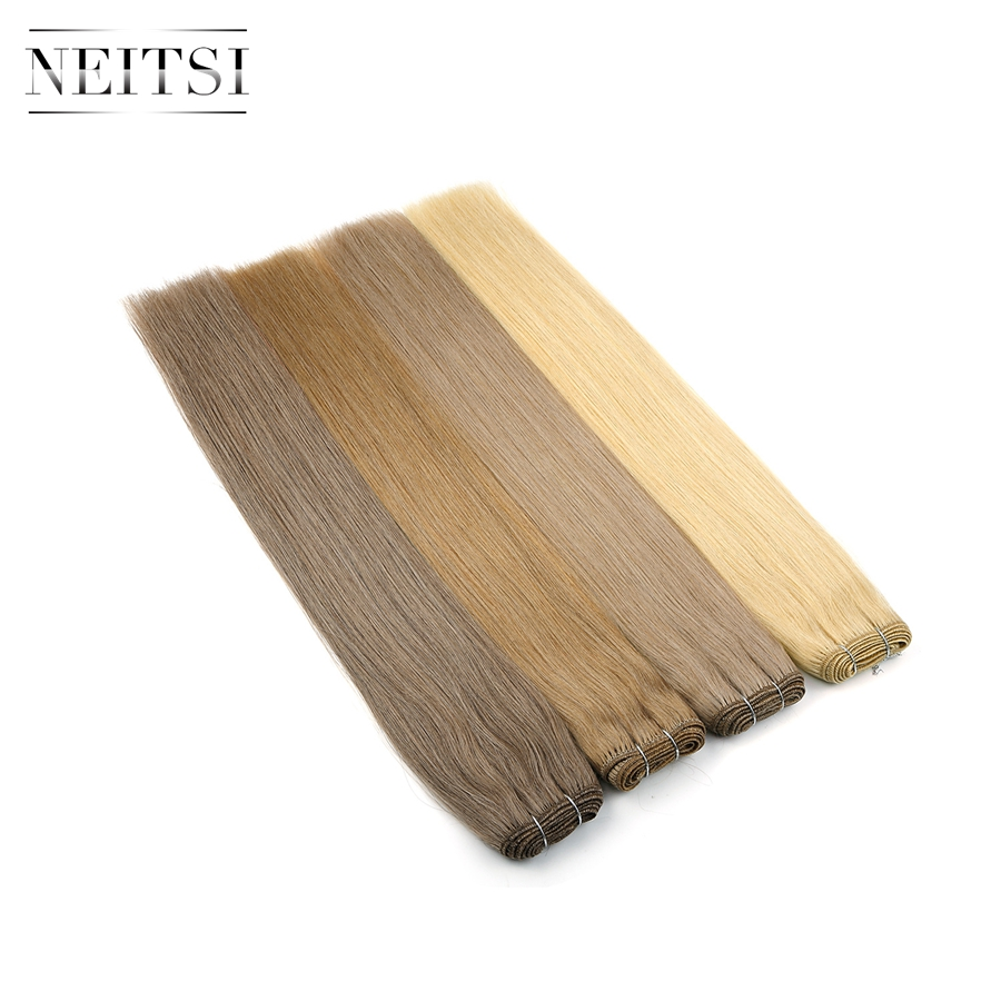 """Neitsi Straight Double Drawn Remy Human Hair Extensions 20"""" 24"""" 100g/Pc Black Blonde Hair Weft Bundles Fast Delivery"""