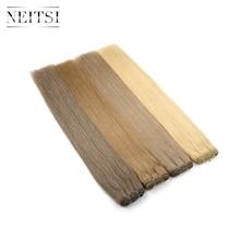 Прямые человеческие волосы для наращивания Neitsi, двойные, 20 дюймов, 24 дюйма, 100 г/шт., черный блонд, пряди, быстрая