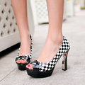 New fashion women pumps  peep toe high heels shoes for women platform pumps prom heels red black woman stilettos shoes with bow