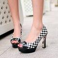 Nueva manera de las mujeres bombas peep toe zapatos de tacones altos para las mujeres bombas de la plataforma de baile zapatos de tacón rojo negro mujer stilettos zapatos con arco